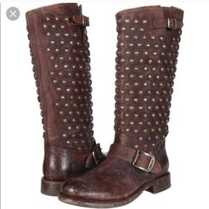 Frye Jenna studded disc knee high leather boots
